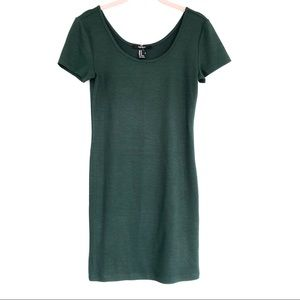 Forever 21 Ribbed Knit T-shirt Dress Green